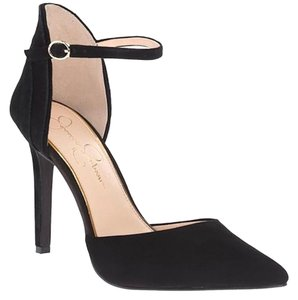 Jessica Simpson Suede Ankle Strap Pointed Toe Black Pumps