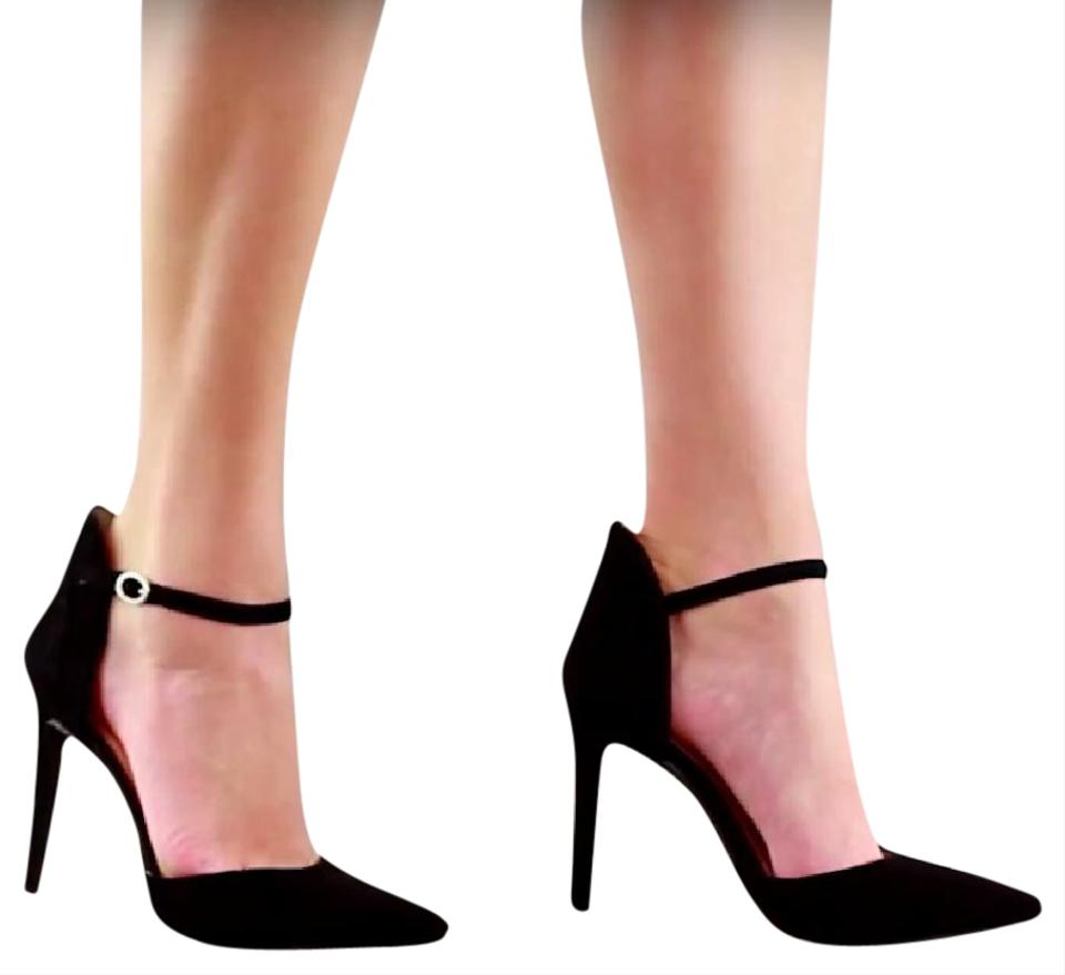 52fffbad4ef Jessica Simpson Suede Ankle Strap Pointed Toe Black Pumps Image 0 ...
