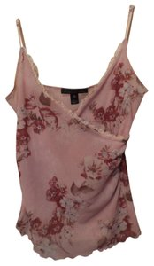 Weston Wear Anthropologie Floral Top Pink with deep red, light blue, taupe & white