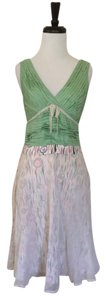 Anthropologie short dress Moss Green Cream Pink Snak Silk Multi Color on Tradesy