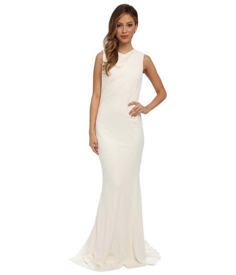 Badgley Mischka Wedding Gown: Badgley Mischka Ivory Viscosy Modern Wedding Dress Size 12
