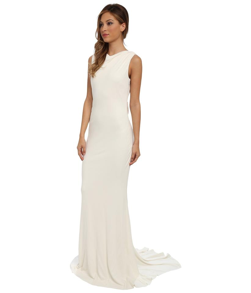 Badgley Mischka Ivory Viscosy Modern Wedding Dress Size 12 (L) - Tradesy