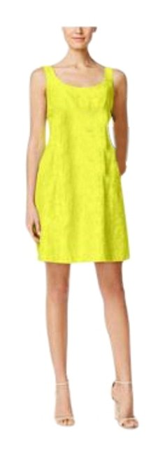 Item - Bright Yellow Fit and Flare Burnout Mid-length Short Casual Dress Size 6 (S)