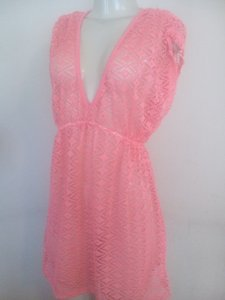 Miken Crochet lace cover up swimsuit cover dress coral/orange
