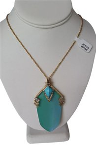 Alexis Bittar Turquoise Lucite and Crystal Gold-tone Pendant Necklace