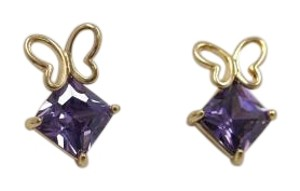 Purple Crystal w Butterfly Studs w Free Shipping
