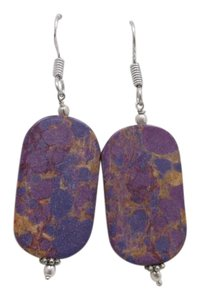 Pre-Owned Purple Flat Fashion Earrings w Free Shipping