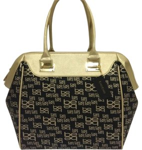 bebe Satchel in Black / Gold