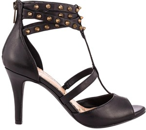 Jessica Simpson Leather Studded Strappy Black Sandals
