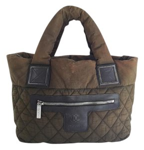 Chanel Cc Logo Khaki Green Tote in Green Brown
