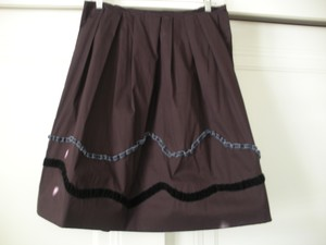 Miu Miu Skirt Burgundy With Dark Grey And Black Ribbon Detail