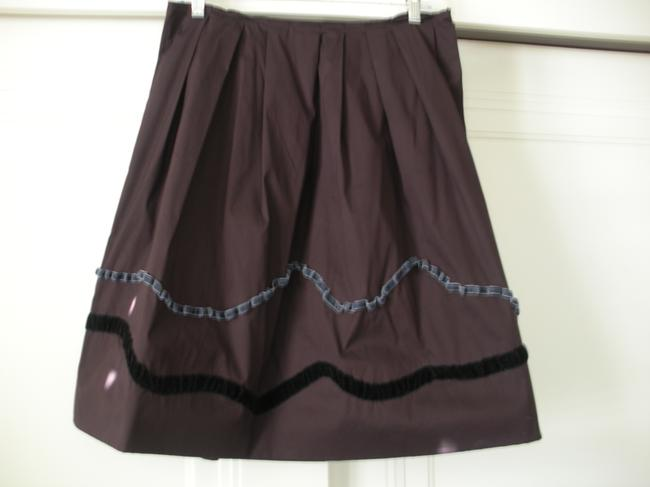 Item - Burgundy with Dark Grey and Black Ribbon Detail Skirt Size 6 (S, 28)