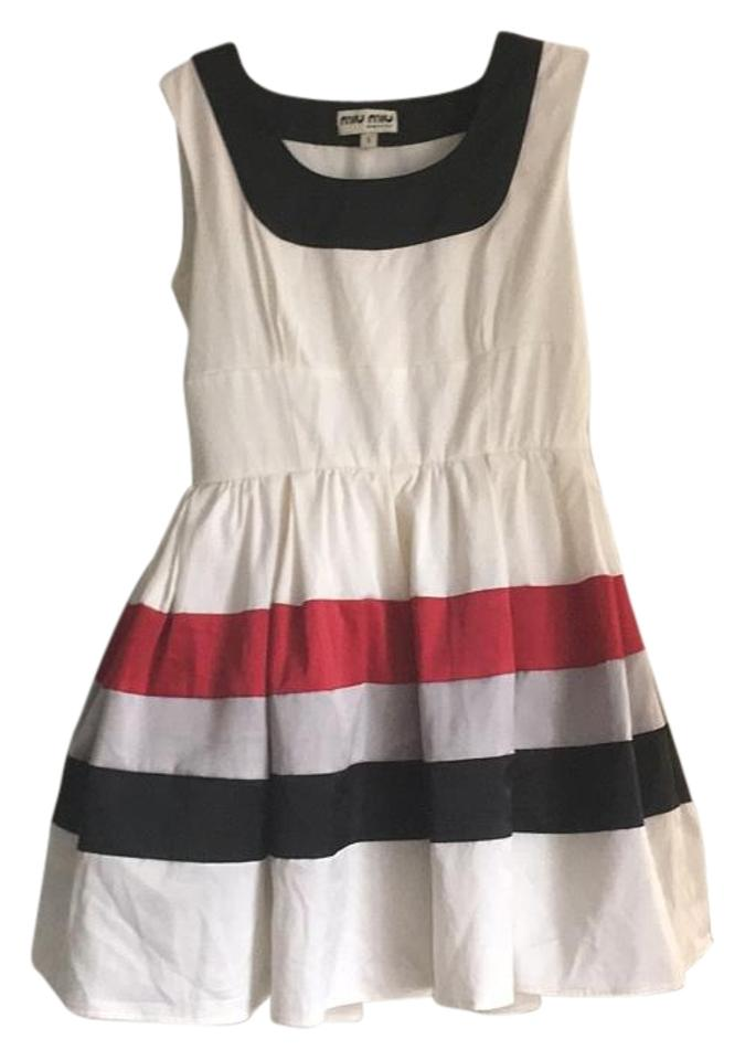 Miu Miu Black White Grey and Red Above Knee Cocktail Dress Size 2 ...