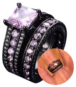 Other 6.8CT 2pc Wedding Ring Set Black Agate Gold Filled Gorgeous Pink Topaz 6 ,7, 8, 9