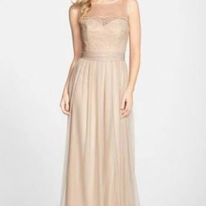 Amsale Champagne Lace/Tulle Feminine Bridesmaid/Mob Dress Size 12 (L)