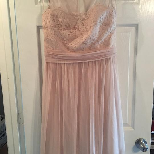 Amsale Champagne Lace/Tulle Feminine Bridesmaid/Mob Dress Size 12 (L) Image 1