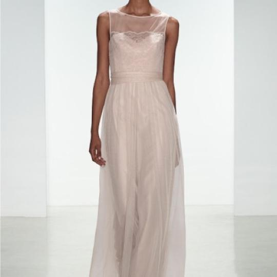 Amsale Champagne Lace/Tulle Feminine Bridesmaid/Mob Dress Size 12 (L) Image 5