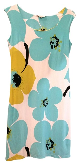 Item - Teal Floral Sleeveless Blue White Gree Sun Knee Length Short Casual Dress Size 12 (L)