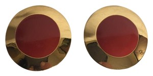MONET Vintage Goldtone & Red Round Clip On Earrings