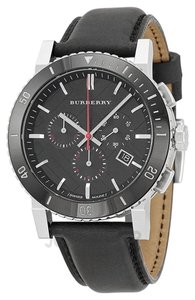 Burberry BU9382 BURBERRY Black Dial Chronograph Black Leather Men's Watch