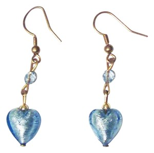 Bottega Veneziana Murano Glass Hearts Sky Blue Dangle Earrings
