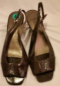 Franco Sarto Snakeskin Black Sandals