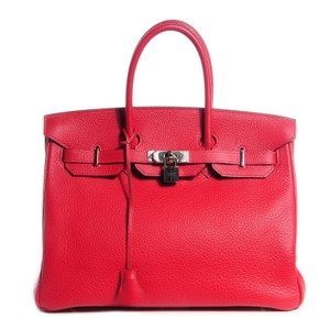Hermès 35 Birkin Kelly Satchel in RED
