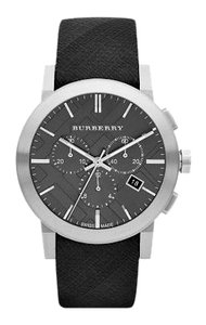 Burberry BU9359 the City Grey Check Leather Strap Chronograph Watch
