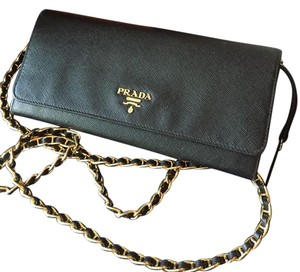 Prada Authentic Prada Black Saffiano Leather Wallet on a Chain