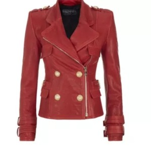 Balmain Leather Motorcycle Red RED/GOLD Leather Jacket