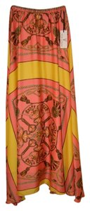 Von Vonni Amazing Green Fulbert Dejon Maxi Skirt Orange/Pink