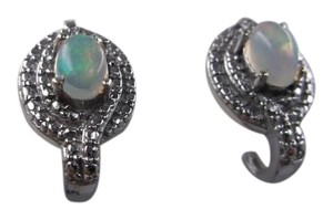 Other Welo Opal Gemstone J-Hoop Earrings in Platinum over Sterling Silver Nickel Free w Free Shipping