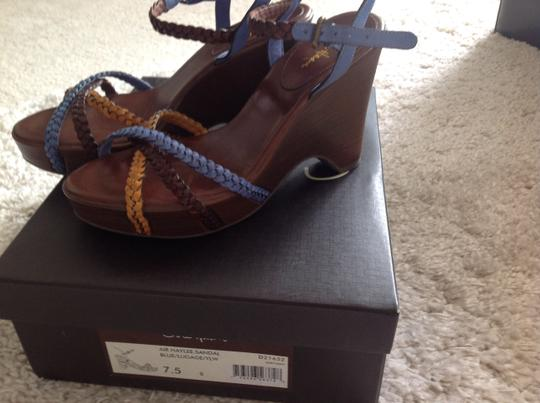 Cole Haan brown/blue/luggage Wedges