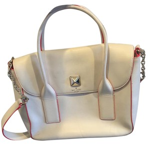 Kate Spade Satchel in White with neon pink accent