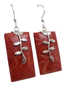 Red Sponge Coral Gem Earrings in 925 Sterling Silver w Free Shipping