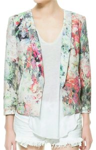 Zara Floral Textured Fitted Spring Summer Multicolor Blazer