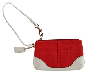 Coach Mini Signature Wallet Designer Leather Wristlet in Burnt Orange and White