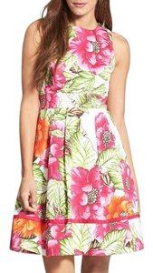 Eliza J short dress Pink Multi Floral Fit & Flare on Tradesy