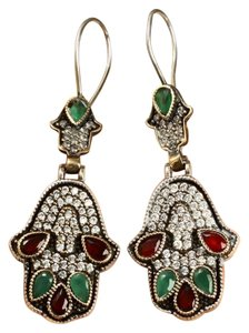 Other HAMSA RUBY EMERALD WHITE TOPAZ GEMSTONE DANGLE EARRINGS