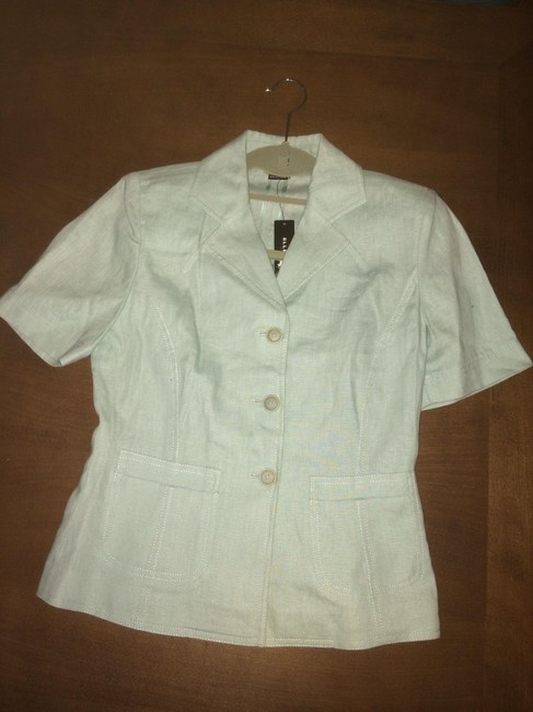 Ellen Tracy Linen Blazer Open Light green Jacket Image 1