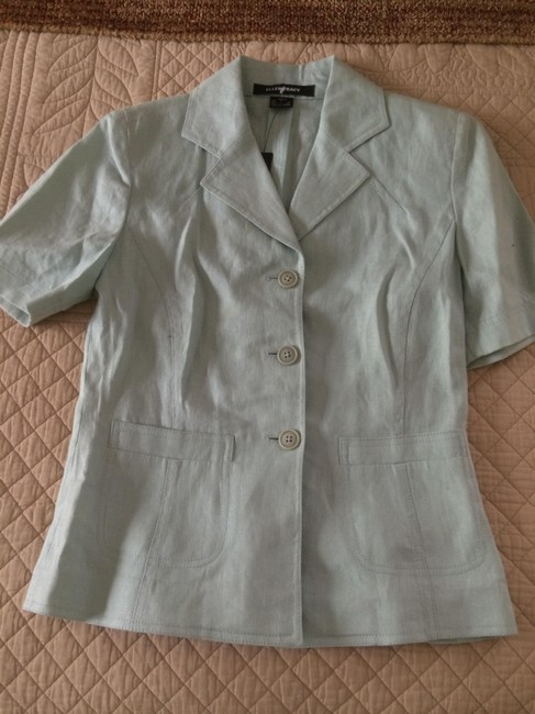 Ellen Tracy Linen Blazer Open Light green Jacket Image 3