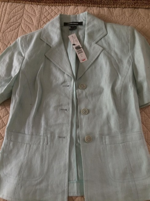 Ellen Tracy Linen Blazer Open Light green Jacket Image 7