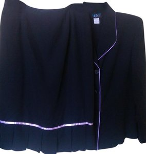 Moving On 2 PC Suit Blazer Pleated Skirt Black Pink