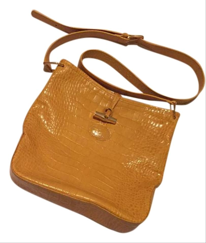 Longchamp Roseau Yellow Crocodile Embossed Leather Cross Body Bag ... 85792e9ae82d4
