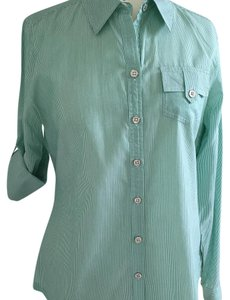 Banana Republic Button Down Shirt Emerald green/white