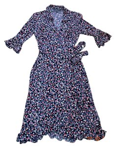 Multi color Maxi Dress by Liz Claiborne Flowy Ruffles Wrap Print Elegant