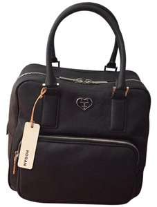 Hogan Satchel in Black leather with pink lining