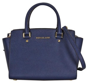 Michael Kors Saffiano Leather 2ways Satchel in Navy