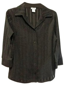 Other Jacquard Lace Blouse Shirt Collar Button Down Shirt Black