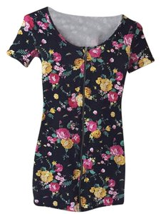 Material Girl short dress Black Floral on Tradesy